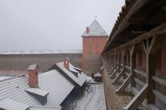 Vinterdag och snöstorm i Lida Castle Royaltyfria Foton