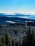 Vinterdimma i berg Arkivfoton
