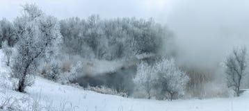 Vinterdimma i den frysa floden Arkivbild