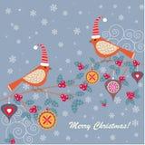 Vinterfåglar royaltyfri illustrationer