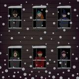 Vinterfönster och folk Stock Illustrationer