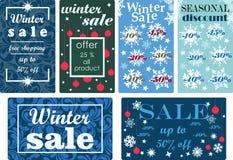 Vinterförsäljning och säsongsbetonad rabattetikettuppsättning också vektor för coreldrawillustration royaltyfri illustrationer