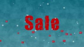 Vinterförsäljning som kommas med av den gulliga sockaapan stock video