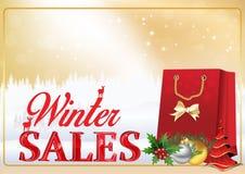 Vinterförsäljningsaffisch/mall Fotografering för Bildbyråer