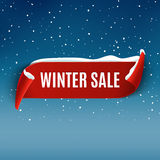 Vinterförsäljningsbakgrund med det röda realistiska bandet Övervintra den befordrings- designen för affischen eller för banret me vektor illustrationer
