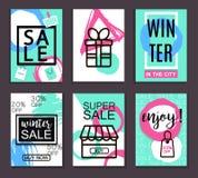 Vinterförsäljningsbaner för rengöringsduk och tryck Affisch kort, reklamblad, banerdesign också vektor för coreldrawillustration vektor illustrationer