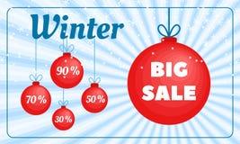Vinterförsäljningsbaner, plan stil stock illustrationer