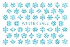 Vinterförsäljningskort med snökristaller royaltyfri illustrationer