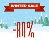 Vinterförsäljningsnummer på den härliga julen landskap bakgrund med träd, snöflingor, fallande snö Arkivfoto