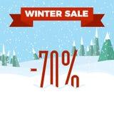 Vinterförsäljningsnummer på den härliga julen landskap bakgrund med träd, snöflingor, fallande snö Royaltyfri Bild
