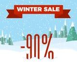 Vinterförsäljningsnummer på den härliga julen landskap bakgrund med träd, snöflingor, fallande snö Royaltyfri Foto