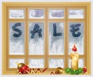 Vinterförsäljningstid Frostat fönster och xmas-stearinljus vektor illustrationer
