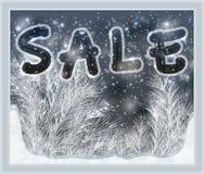 Vinterförsäljningstid Frostat fönster, vektor royaltyfri illustrationer