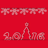 Vinterferie för nytt år 2016, snöflinga och julträd, röd bakgrund för modellpartiinbjudan Royaltyfri Bild