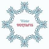 Vinterferier krans och prydnadgarnering Glad jul önskar hälsningkortdesign och tappningrambakgrund Royaltyfri Fotografi