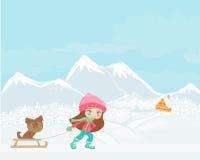 vinterflicka och henne hund Royaltyfri Bild