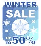Vinterförsäljningsaffischtavlan i blått planlägger med snöflingor Royaltyfri Foto