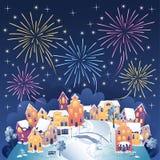 Vinterfyrverkerier Royaltyfria Bilder