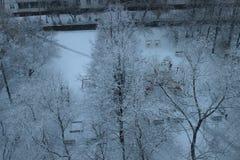 Vintergård övre sikt Arkivfoton