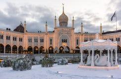 Vintergarnering på den moriska slotten i Tivoli arbeta i trädgården Arkivbilder