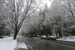 Vintergata med snö Arkivbild