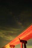 Vintergatan är vår galax Denna astronomiska pho för lång exponering Arkivfoto