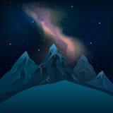 Vintergatan över bergen på nattstjärnavektorn Royaltyfria Bilder