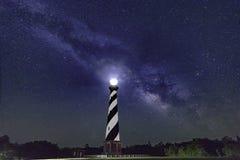 Vintergatan över den Hatteras fyren Arkivbild
