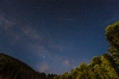 Vintergatan över den ukrainska skogen royaltyfria bilder