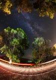 Vintergatan Härlig sommarnatt Arkivfoton