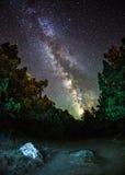 Vintergatan Härlig sommarnatt i Ukraina Fotografering för Bildbyråer