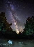 Vintergatan Härlig sommarnatt i Ukraina Arkivbild