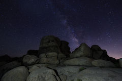 Vintergatan i Joshua Tree National Park Royaltyfri Foto