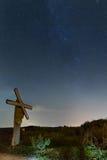 Vintergatan nära drevspåren Arkivbild