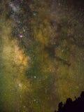 Vintergatan och stjärnor Arkivbilder