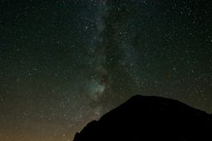 Vintergatan ovanför bergkant Royaltyfri Fotografi