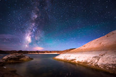 Vintergatan sjö Powell Utah Arkivfoto