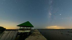 Vintergatan vid havet, mangroveskogen på flottan och den kust- beskyddmitten, Samut Sakhon, Thailand stock video