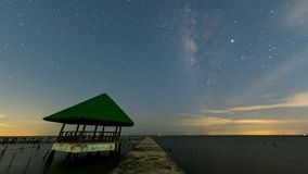 Vintergatan vid havet, mangroveskogen på flottan och den kust- beskyddmitten, Samut Sakhon, Thailand arkivfilmer