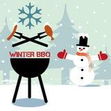 Vintergrillfest som flammar BBQ-gallret stock illustrationer