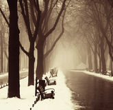 Vintergränd i Odessa, Ukraina. Arkivbilder