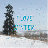 Vinterhälsningskort - jag älskar vinter Stock Illustrationer