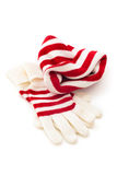 Vinterhatt och handskar Arkivbilder