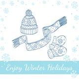 Vinterhatt, tumvanten och halsduk också vektor för coreldrawillustration Royaltyfri Foto