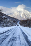 Vinterhuvudväg Arkivfoton