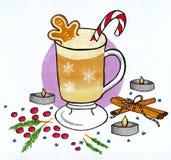 Vinterillustration av kaffekoppen med pepparkaka- och godisrottingen royaltyfria bilder