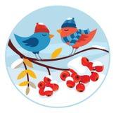 Vinterillustration med fåglar Arkivfoton