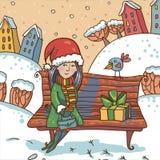 Vinterillustration med flickan och gåvan på en parkera Royaltyfria Bilder