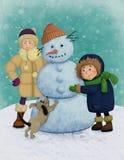 Vinterillustration med ungar och snögubben Royaltyfri Bild