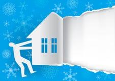 Vinterinbjudanbegrepp, blå sönderriven pappers- bakgrundsmall arkivfoto
